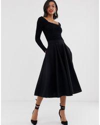 Closet Wardrobe Panelled Skater Skirt - Black