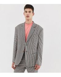 Collusion Tall Oversized Suit Jacket In Brown Check