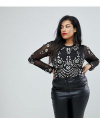A Star Is Born - Embellished Bodysuit In Sheer Mesh - Lyst
