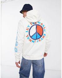 Tommy Hilfiger Белый Капсульный Худи С Логотипом На Спине Luv The World