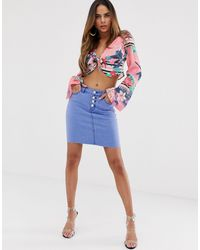 Lipsy Denim Mini Skirt With Button Front - Blue