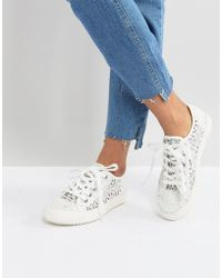 London Rebel - Crochet Lace Up Trainer - Lyst