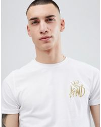 Kings Will Dream Muscle Fit Travis T-shirt In White With Gold Logo