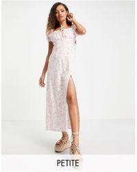 Miss Selfridge Белое Платье Макси С Присборенным Вырезом -белый - Многоцветный