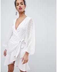 Keepsake - Wrap Dress With Spot Detail - Lyst