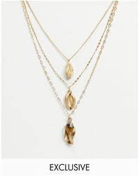 South Beach Многослойное Ожерелье Из Золотистых Цепочек С Искусственными Ракушками -золотистый - Металлик