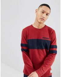 Abercrombie & Fitch - Varsity Chest Stripe Lightweight Sweatshirt In Red - Lyst