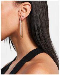 ALDO Chorewet Embellished Paperclip Earrings - Metallic