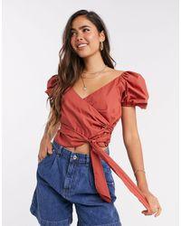 ASOS Short-sleeved Cotton Wrap Top - Multicolour
