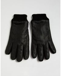 French Connection Half Leather & Knitted Gloves - Black