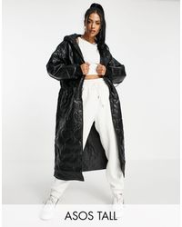 ASOS Asos Design Tall Faux Leather Quilted Hooded Puffer Coat - Black