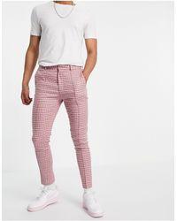 ASOS Pantaloni eleganti super skinny rosa Gingham