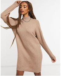 ONLY High Neck Sweater Dress - Brown