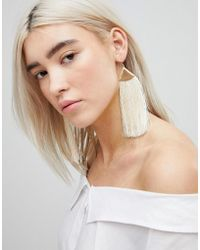 ASOS - Folded Metal Tassel Earrings - Lyst