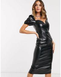 Missguided Vinyl Midi-jurk Met Pofmouwen - Zwart