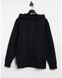 SELECTED Hoodie With Front Pocket - Black