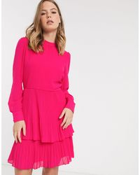 Warehouse Tiered Pleated Dress - Pink