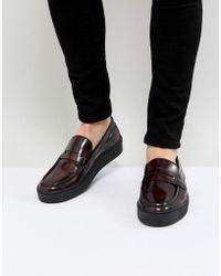 ASOS - Creeper Loafers In Burgundy Leather With Penny Strap - Lyst