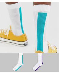 ASOS Pack de 2 pares de calcetines deportivos con estampado de raya en la parte posterior - Blanco