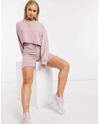 Missguided – set mit kurzem sweatshirt und shorts - Pink