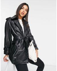 Mango Faux Leather Belted Jacket - Black