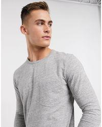 SELECTED Organic Blend Cotton Long Sleeve Pocket T-shirt - Grey