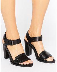 G-Star RAW Claro Black Leather Heeled Sandals