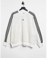 adidas Originals 'leopard Luxe' - Oversized Sweatshirt - Wit
