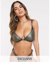 Wolf & Whistle Esclusiva - top bikini a triangolo luminoso con fibbie, coppe grandi d-f - Verde