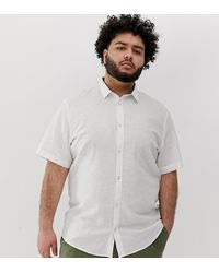 Only & Sons Short Sleeve Linen Mix Shirt In White