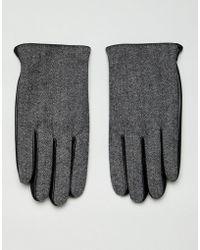 ASOS Touchscreen-Handschuhe aus schwarzem Leder mit Fischgrätenmuster