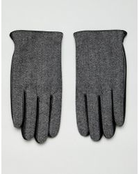 ASOS Leather Touchscreen Gloves In Black With Herringbone Detail