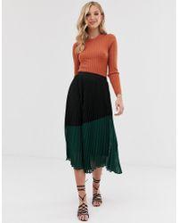 Vero Moda Pleated Colour Block Skirt - Green