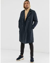 ASOS Double Breasted Trench With Quilted Lining - Blue