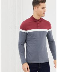 ASOS Long Sleeve Polo Shirt With Contrast Body And Sleeve Panels In Gray