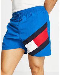 Tommy Hilfiger Сине-зеленые Шорты Для Плавания С Логотипом-флагом Сбоку -голубой - Синий