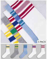 TOPMAN Набор Из 5 Пар Носков С Цветными Полосками -разноцветный - Синий
