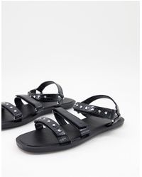 Pimkie Strap Flat Sandals With Studs - Black