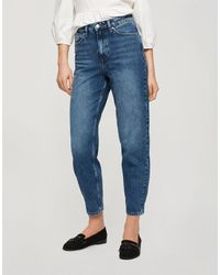 Miss Selfridge Mom High Waist Tapered Jeans - Blue
