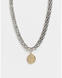 Accessorize Collier chunky multi-rangs avec pendentif doré - Métallisé