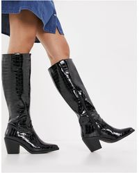 Glamorous Knee High Western Boots - Black