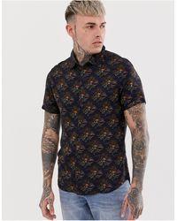 Blend Short Sleeved Shirt With Sunrise Print - Blue