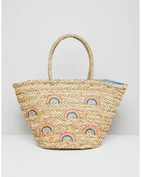 Chateau - Rainbow Print Straw Beach Bag - Lyst