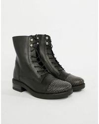 3a796be2a12f ALDO Miassa Pull On Sock Boot With Lace Detail in Black - Lyst