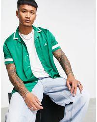 ASOS Свободная Рубашка В Стиле Рубашки Боулинга С Вышитым Логотипом - Зеленый