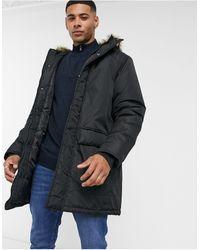 French Connection Faux Fur Hood Parka Jacket - Black