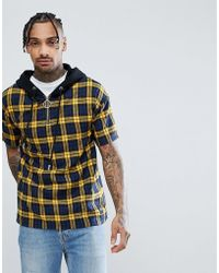 Sixth June - Oversized Shirt In Yellow Check With Half Zip - Lyst