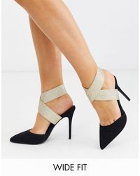 ASOS Wide Fit Payback Elastic High Heels Black And Gold