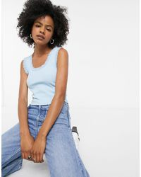 TOPSHOP Lace Trim Tank Top - Blue