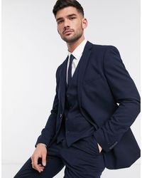 French Connection Wedding Slim Fit Flannel Suit Jacket - Blue